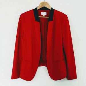 Chaus New York Red Open Blazer with Leather Detail